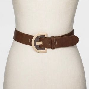 A New Day Leather Belt Brown Gold Belt Buckle